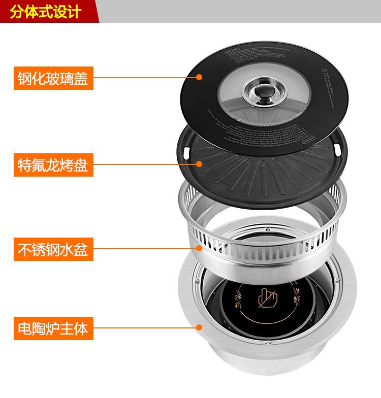 电烤炉韩式 嵌入式商用无烟烧烤炉 自助餐圆形韩国烤肉锅下排式示例图4