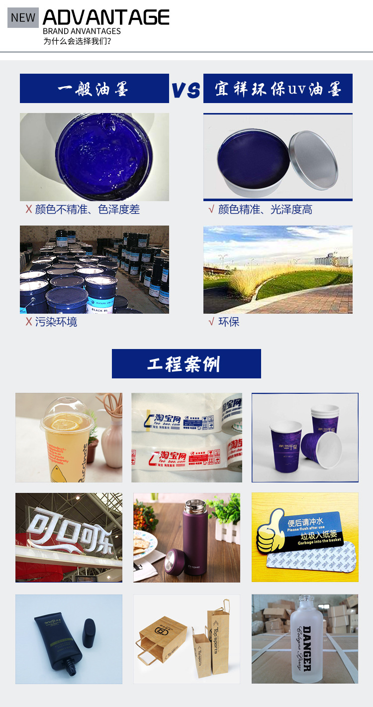 工厂批发环保UV油墨  abs塑料LED紫外线光固化型墨 蓝色PVC丝印墨示例图10