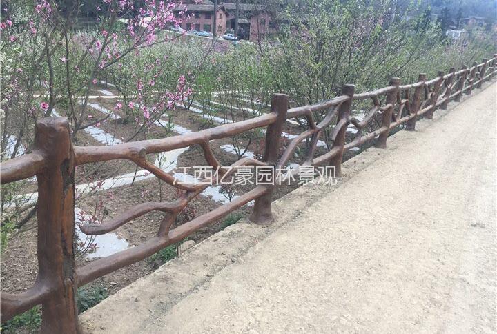 水泥仿木栏杆制作方法,广东仿木护栏工厂价格,深圳园林围栏效果示例图2