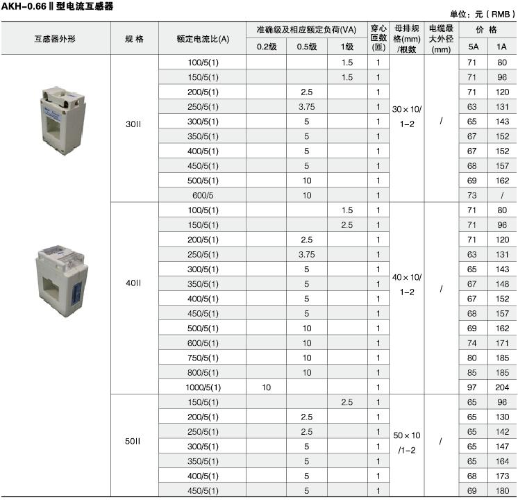 安科瑞,测量型电流互感器,AKH-0.66-40I,额定电流比10-75/5A示例图31