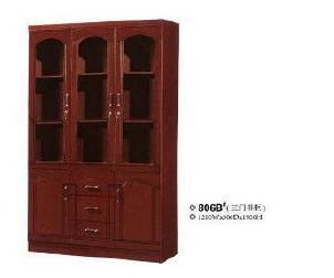 厂家直供三门书柜  大容量办公书柜  806B#简易书柜 南康家具批发