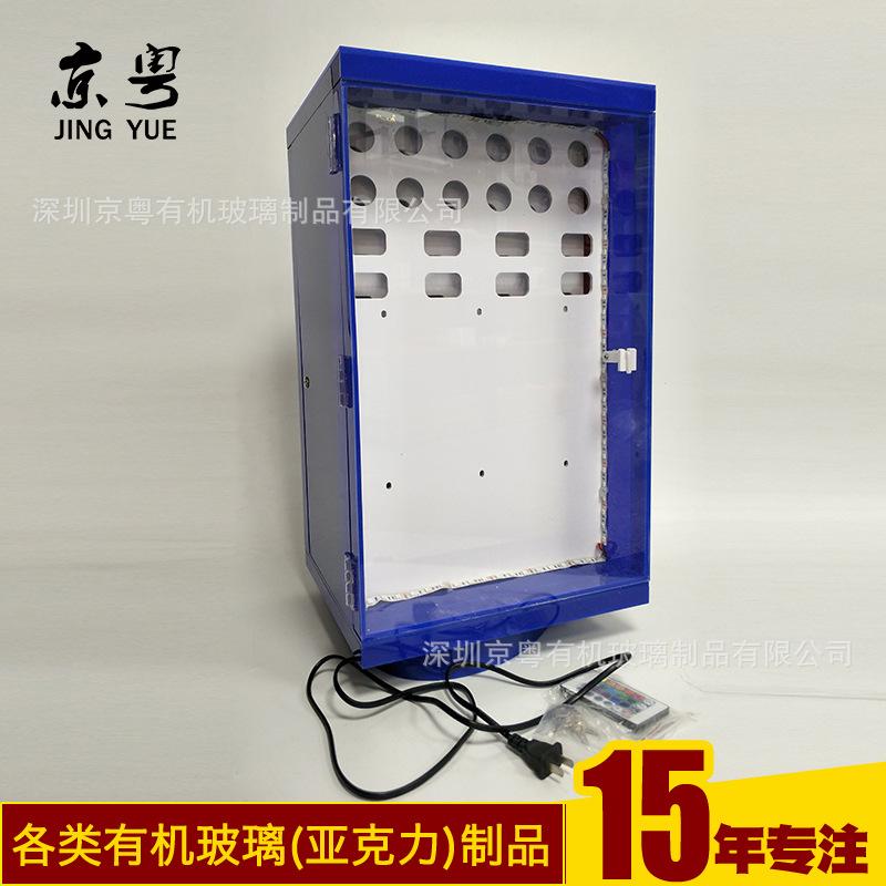 工廠訂做 旋轉發光手機充電器展示架 3C數碼產品小展柜加工定制示例圖5