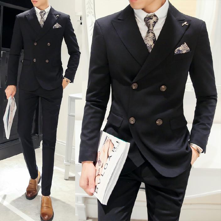冬季韓版西裝套裝男士三件套修身青年新郎結婚禮服休閑西服套裝男