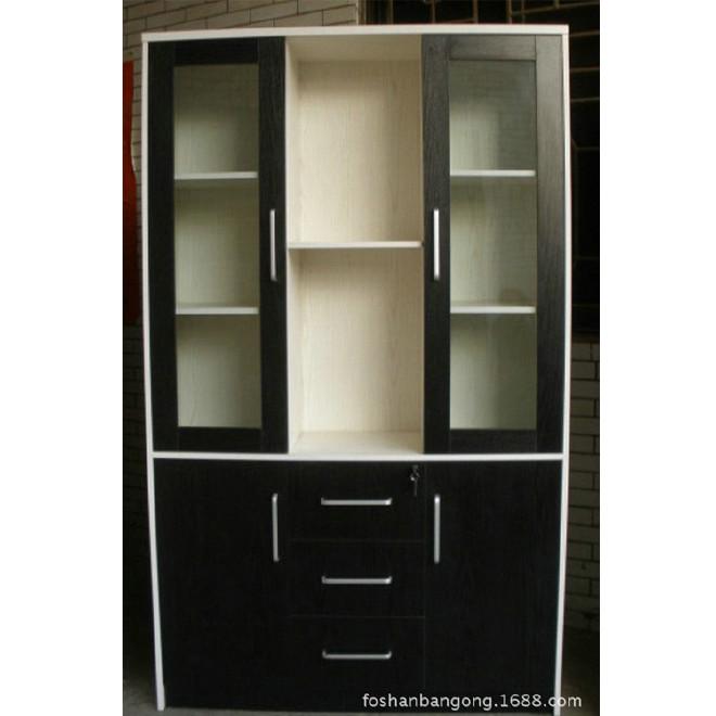 简约书房家具书橱办公书柜三门书柜时尚书柜 带门黑搭白