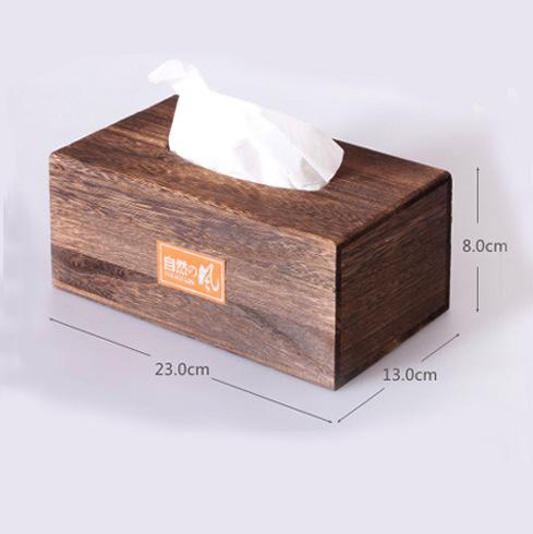 创意车用纸巾盒抽纸盒收纳盒方形翻盖式抽屉式木质纸巾盒