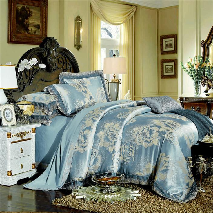 莫代爾全棉四件套 貢緞提花婚慶套件批發 純棉床單4件套家紡床品圖片