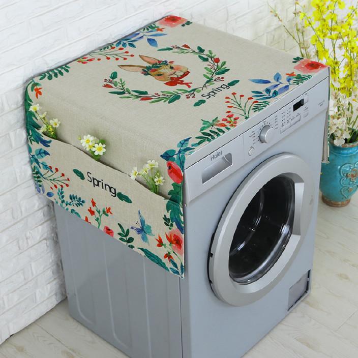 佳尔美棉麻布艺洗衣机罩海尔冰箱防尘代简约侧兜收纳厂家批发