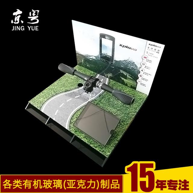 工廠訂做 亞克力LED山地自行車燈展示架制作 單車USB充電燈展示架