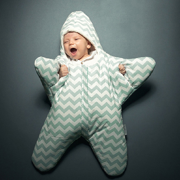 INSULAR爆款婴儿秋冬保暖睡袋海星外形宝宝睡袋抱被新生儿睡袋