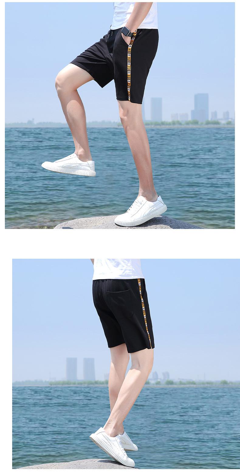 夏季男士短裤 中国风运动速干弹力沙滩裤 透气修身五分裤示例图15