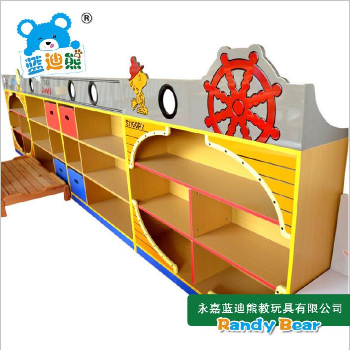 厂家直销 儿童玩具柜 幼儿园专用收纳柜 海盗船实木组合玩具柜