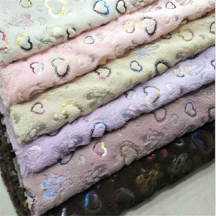 厂家供应 PV绒烫金面料 靠垫抱枕家纺玩具时装面料 多色可选