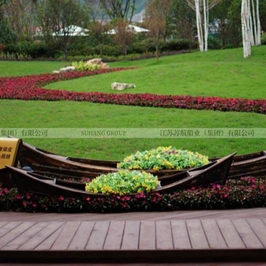 景區景觀裝飾船 仿古兩頭尖木船 公園花船裝飾木船
