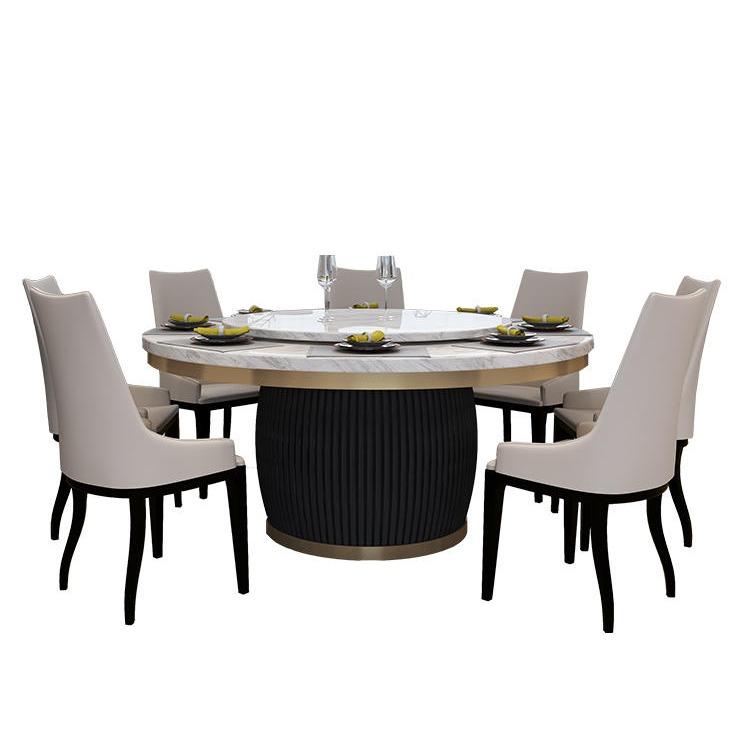 桌越星級酒店家具電動餐桌 豪華會所大理石轉盤電動桌 電動宴會桌