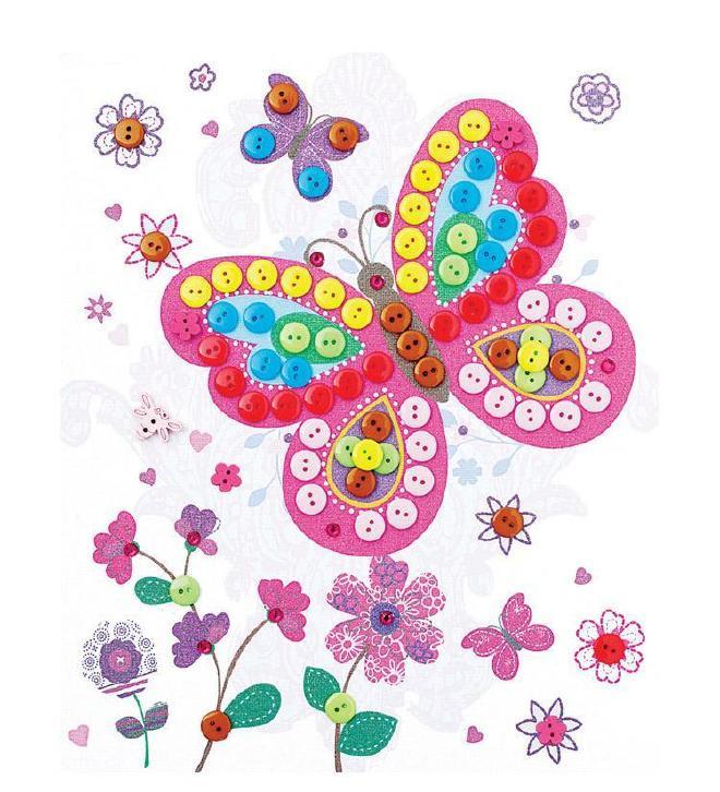 布相框房间画幼儿园手工DIY儿童制作汽车装饰精品纽扣代理图片