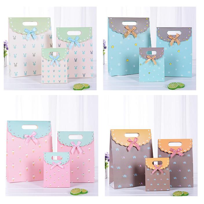 现货碎花礼品袋白卡纸袋手提礼品袋礼物 翻盖礼品袋子批发FG-038图片