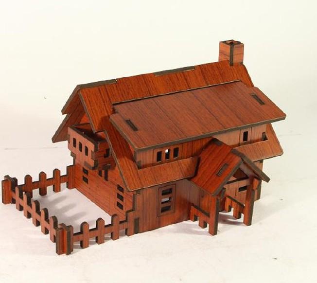 森呼吸西式小屋批发激光切割3D精品智慧拼装模型精致DIY益智玩具示例图3