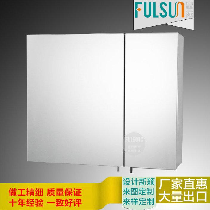 厂家批发亮光不锈钢浴室镜柜 大小双门镜柜卫生间储物镜箱可订做
