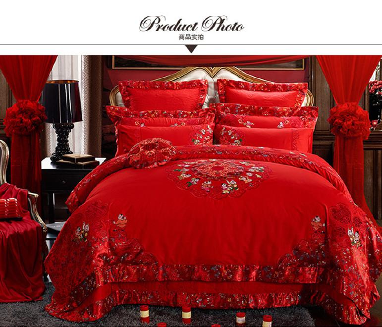 廠家直銷婚慶床上用品純棉貢緞提花八件套十件套全棉婚慶床品批發圖片