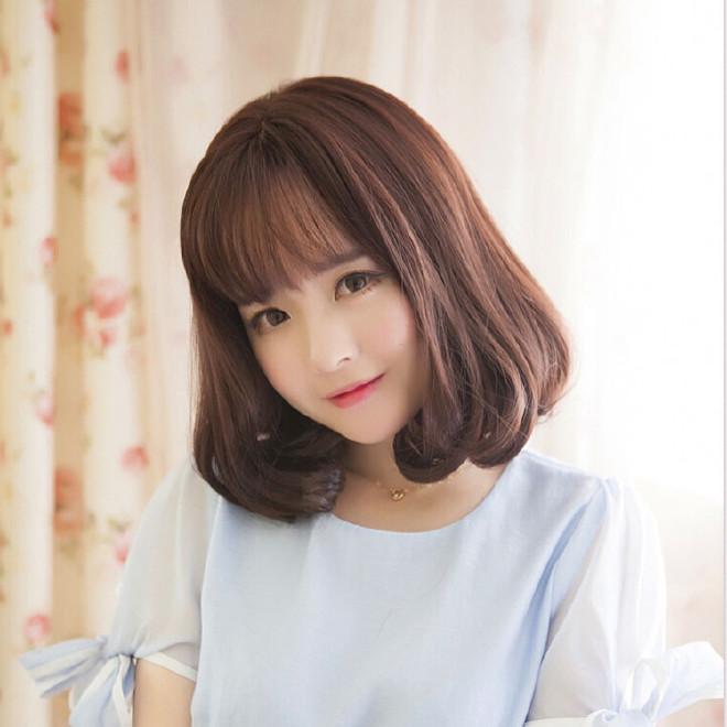 梨花女发型头短发内扣中长时尚蓬松韩国假发整中长发女烫发图片
