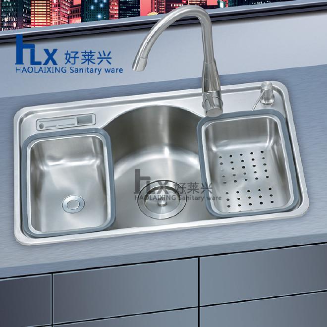 广东江门厂家厨房水槽304不锈钢单槽洗菜盆含沥水篮刀具皂液器图片