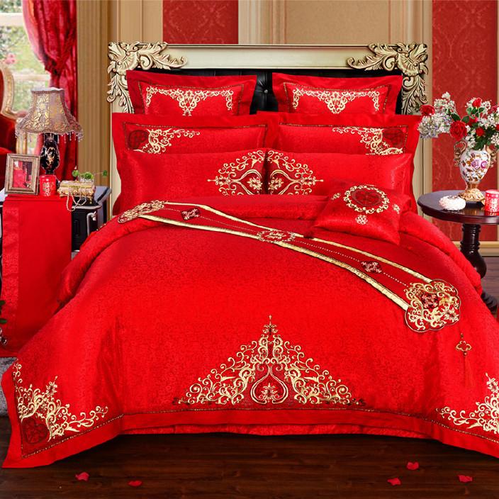 直銷 婚慶四件套 大紅結婚床上用品四件套六至十件套新婚繡花套件圖片