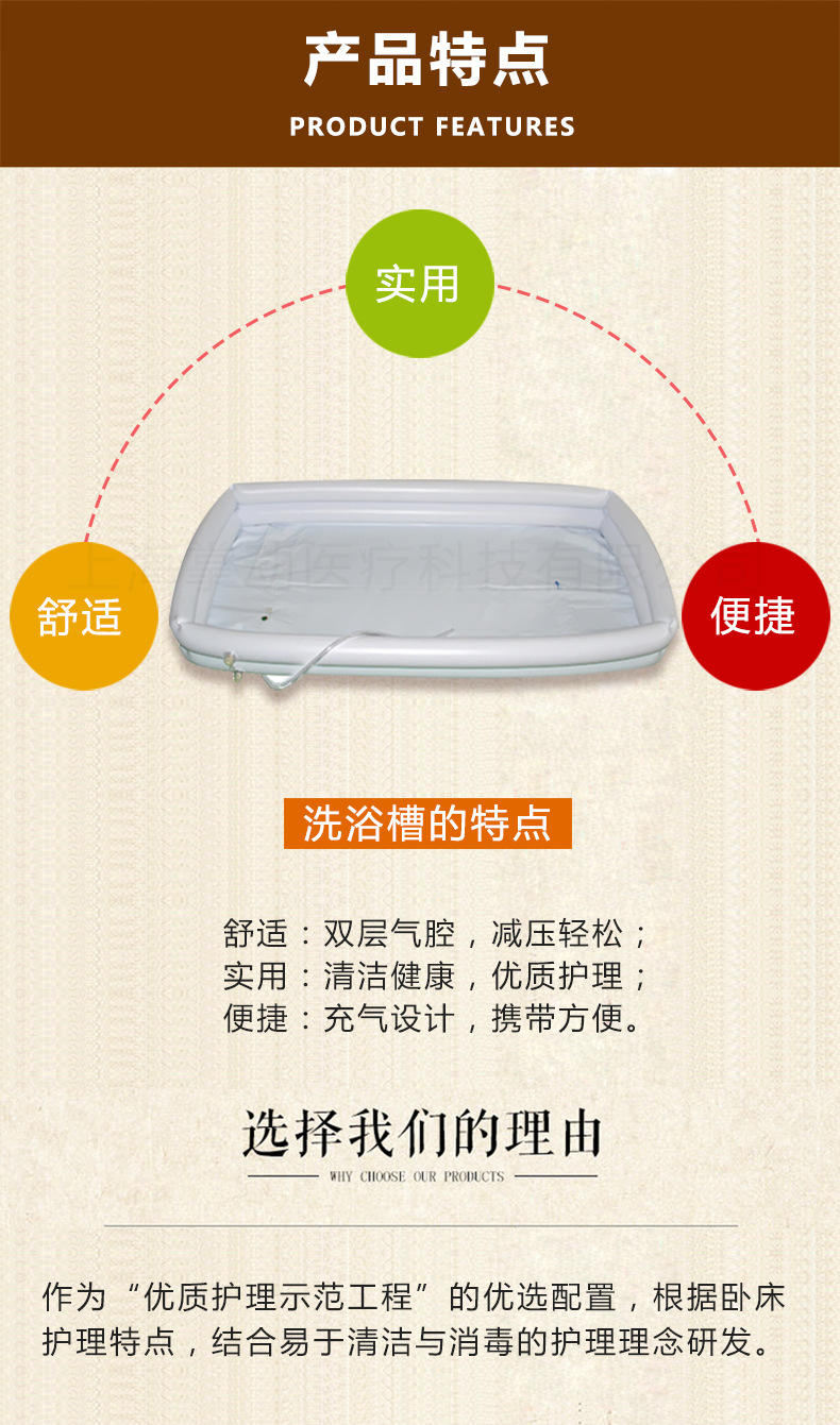 供应卧床洗浴槽 充气式床上洗澡盆瘫痪老人清洁(床仅供展示)示例图6