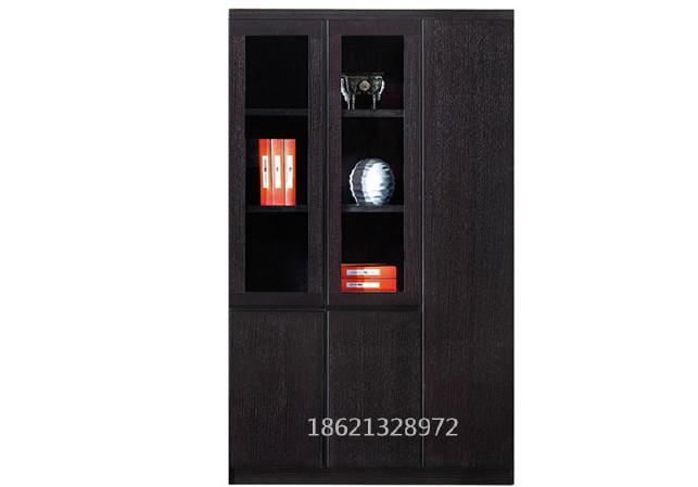 贴实木皮文件柜 书柜 黑橡木色办公书柜