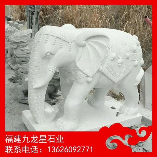 九龙星石雕厂客户定制汉白玉大象雕刻完工 老师傅手艺