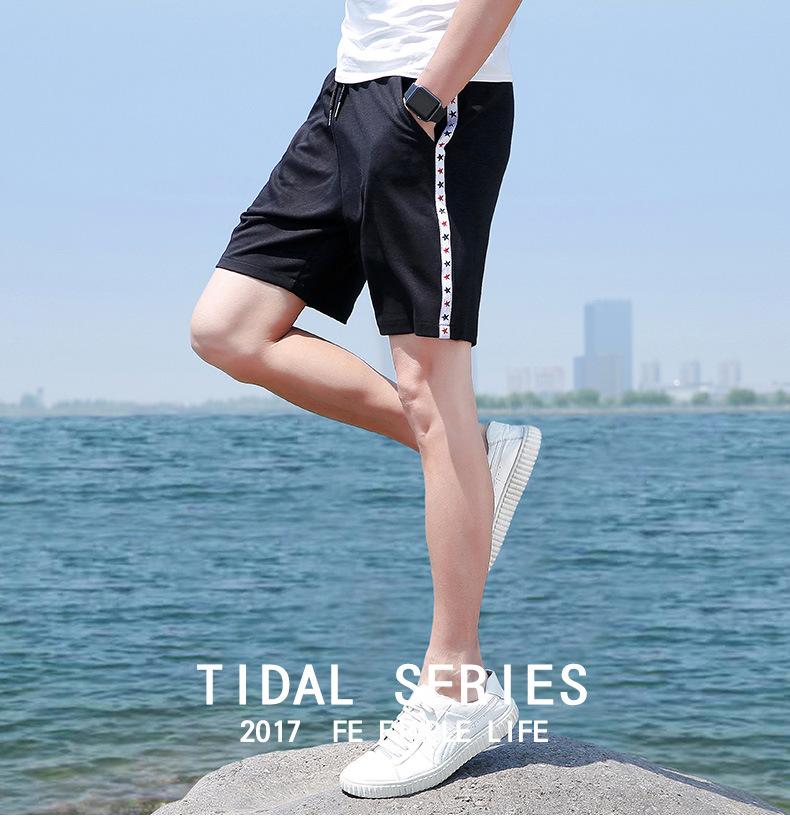 夏季男士短裤 中国风运动速干弹力沙滩裤 透气修身五分裤示例图1