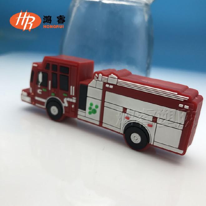 pvc软胶手机小挂饰 汽车造型公仔定制 消防车3D立体公仔定做图片