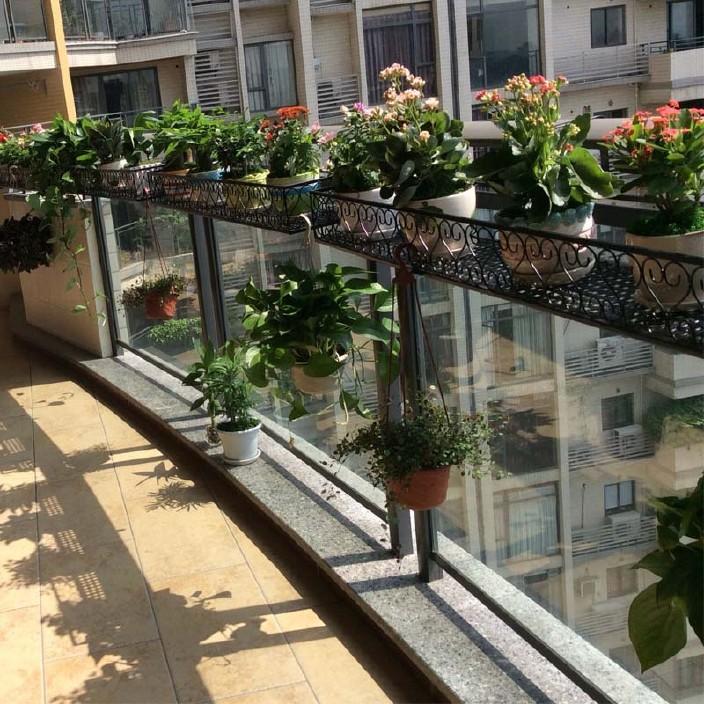 阳台花架悬挂式铁艺多层花盆架壁挂l吊兰多肉花篮栏杆欧式植物架图片