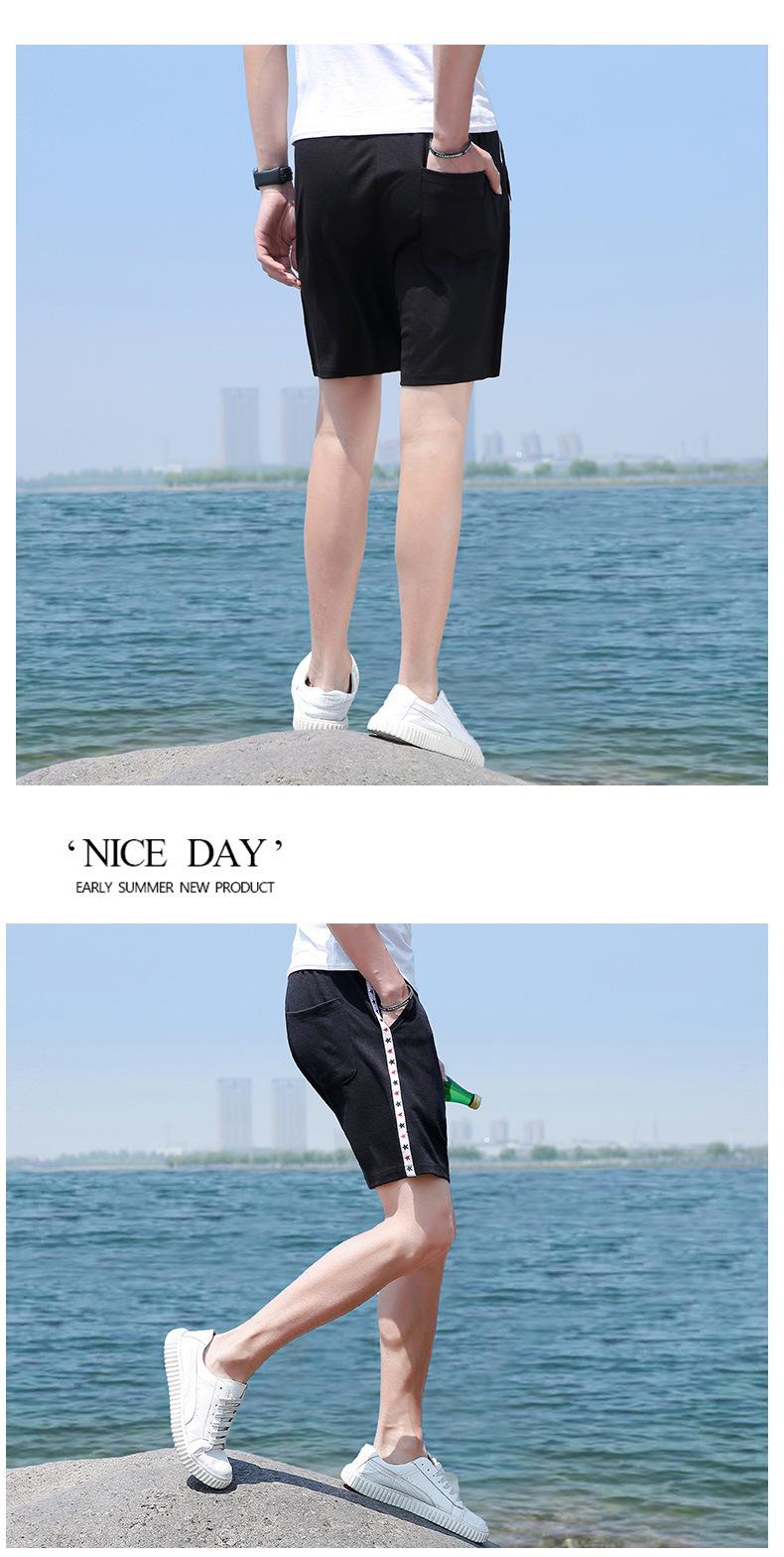 夏季男士短裤 中国风运动速干弹力沙滩裤 透气修身五分裤示例图9