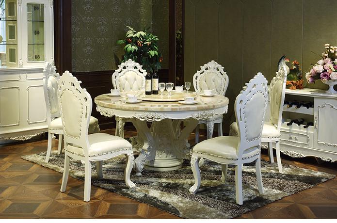 欧式餐桌椅组合 美式实木雕花餐桌圆形桌 别墅家具 大理石6人餐桌