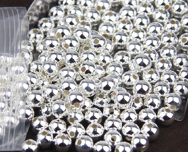 S925纯银散珠佛珠直销光珠天然银珠DIY厂家环保瑜伽垫图片