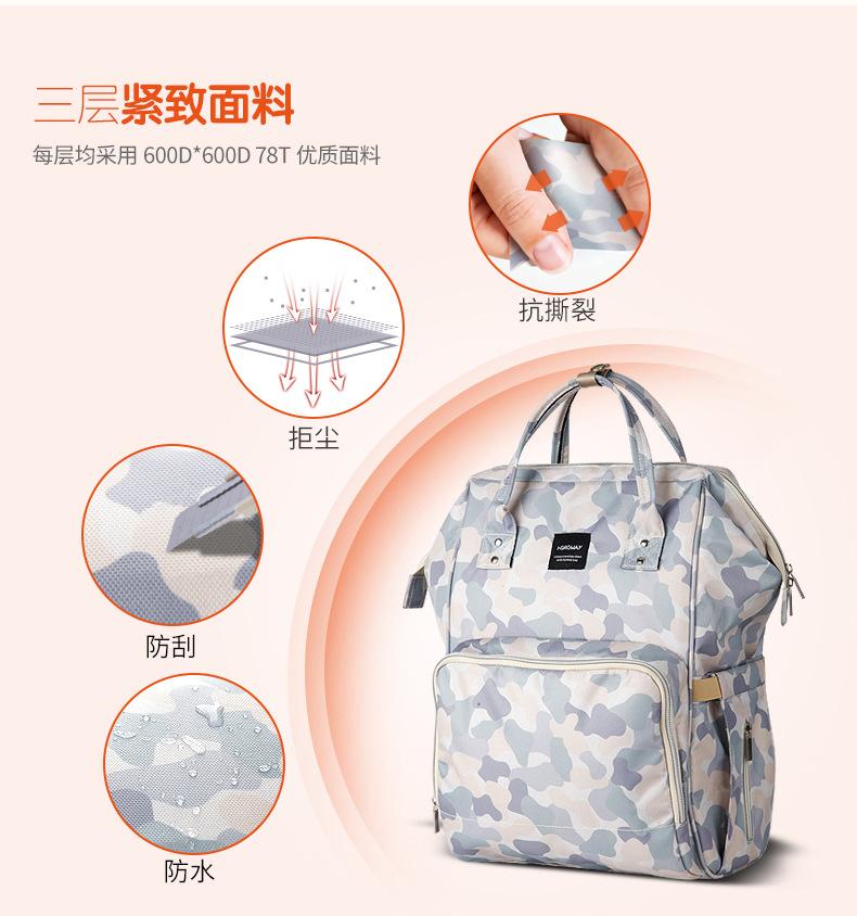 妈咪包新款升级多功能尿布包双肩手提妈咪包大容量亚马逊跨境热卖示例图11