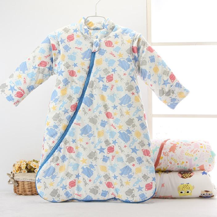 兒童睡袋秋冬厚款純棉蘑菇睡袋寶寶防踢被嬰兒純棉睡袋一件代發