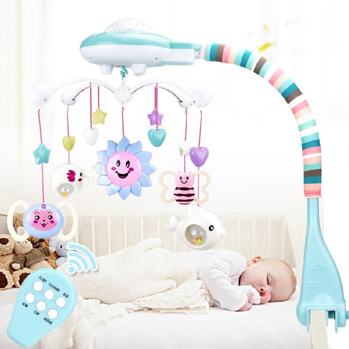新生婴儿宝宝床铃0-1岁3-6-12个月玩具投影音乐旋转床头摇铃