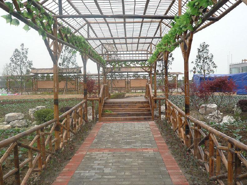 蜀竹建筑 雅致经典竹艺 竹花架-006 专业设计生产葡萄架 植物架图片