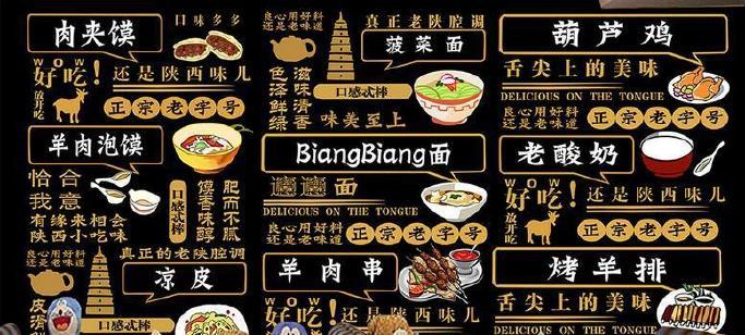 手绘熊本美食西安壁纸无缝店名美食可换凉皮羊日本陕西壁画图片