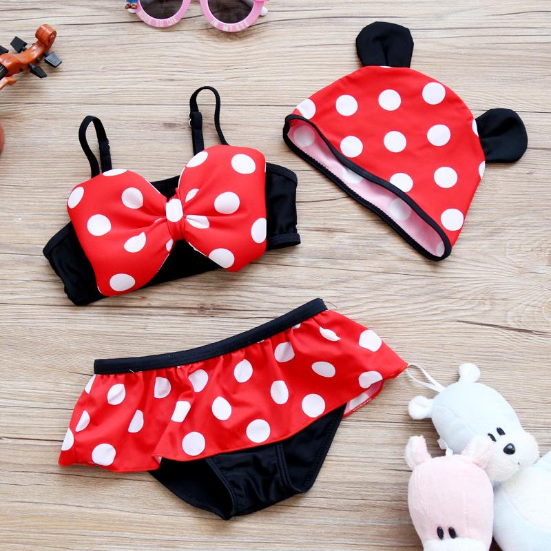 儿童泳衣女孩连体婴儿裙式泳装温泉米妮分体比