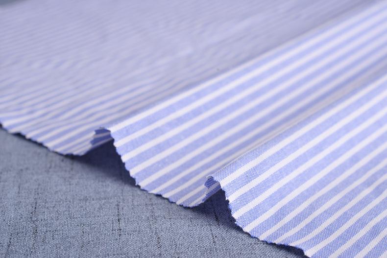 廠家直銷加厚牛津紡條子色織襯衫滌棉布料條紋布連衣裙職業裝面料示例圖6