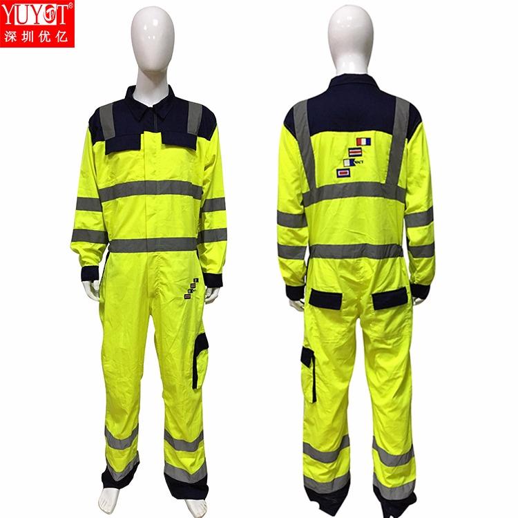 厂家直销定做全棉反光连体衣工装荧光黄撞色高亮防护连体工作服图片