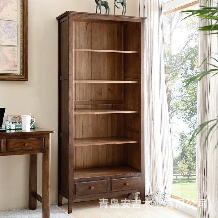 美式乡村全实木书柜 白橡木简约书房家具无门书架