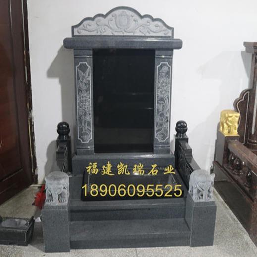 2019年凱瑞石業熱銷傳統墓碑款式 芝麻黑墓碑可支持定制 批發量大價格優惠
