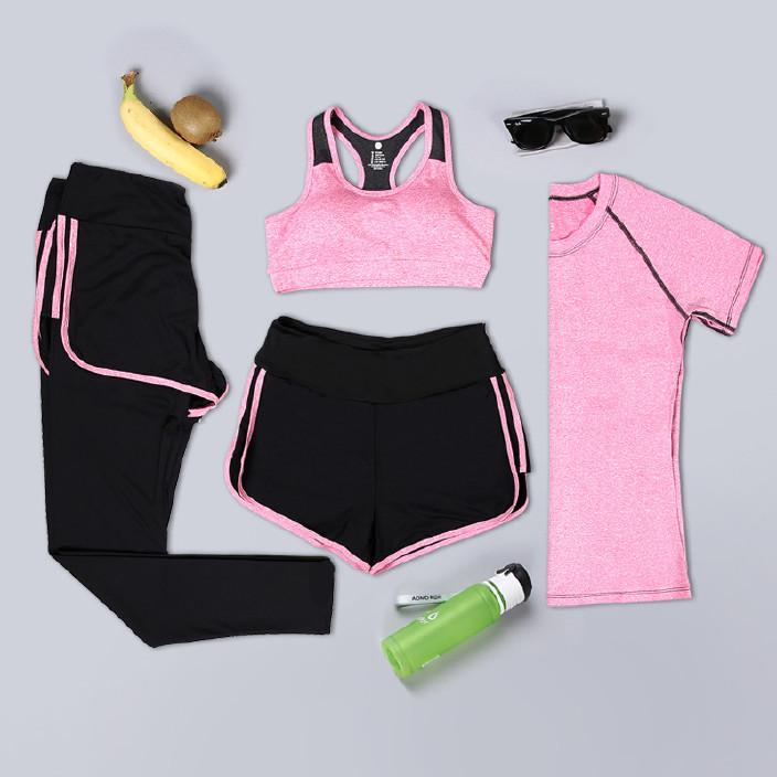 夏季健身瑜伽服运动文胸吸汗速干时尚四件套运动套装 一件代发
