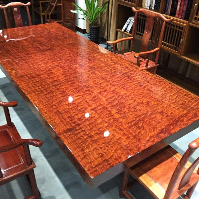 巴花实木大板餐桌奥坎大板桌原木茶桌巴西花梨木办公桌胡桃木班桌图片