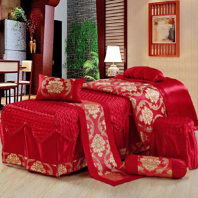 美容床罩四件套七件套 大红色按摩床罩熏蒸床 通用款可订做