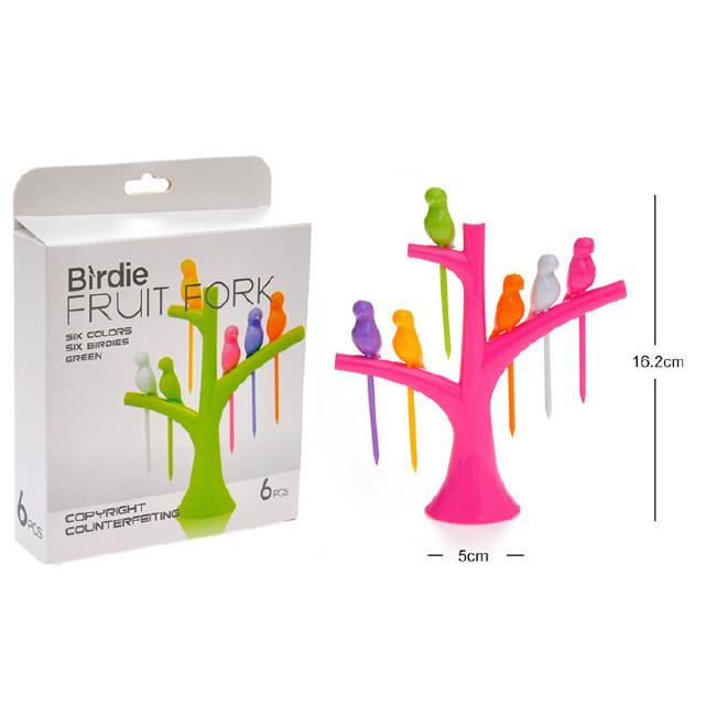 创意树梢小鸟水果叉 塑料水果叉可印LOGO水果叉厨房必备6只