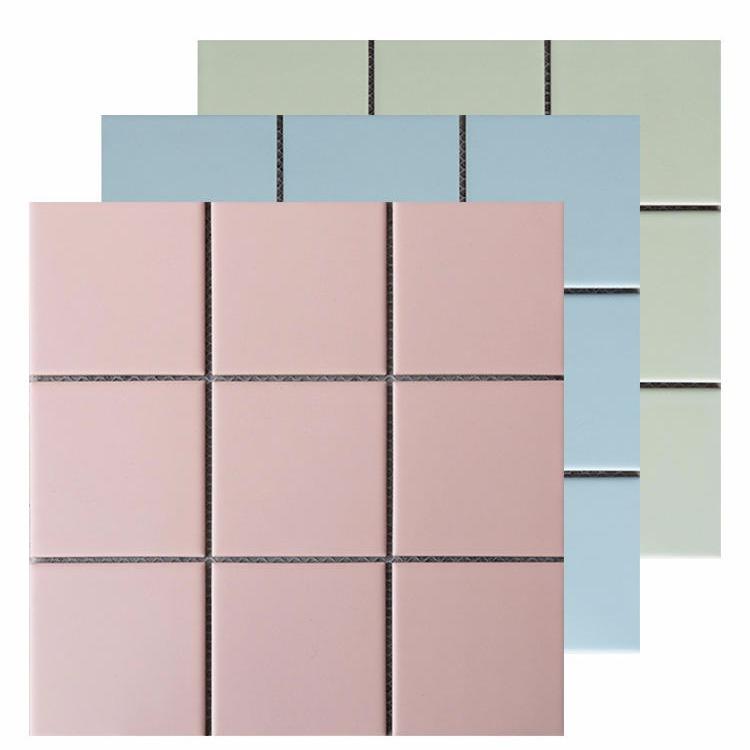 北欧马卡龙色 墙砖300x300 绿色卫生间瓷砖 浅蓝浴室墙砖粉色马赛克
